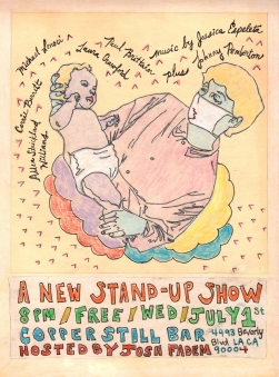 """""""a new stand-up show"""" . 1/10 poster art by stacy elaine dacheux . 2015"""
