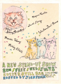"""""""a new stand-up show"""" . 2/10 poster art by stacy elaine dacheux . 2015"""