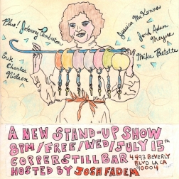 """""""a new stand-up show"""" . 3/10 poster art by stacy elaine dacheux . 2015"""