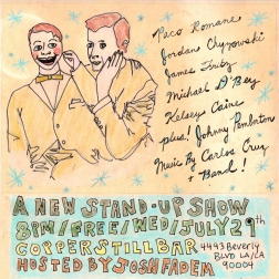 """""""a new stand-up show"""" . 5/10 poster art by stacy elaine dacheux . 2015"""