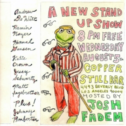 """""""a new stand-up show"""" . 6/10 poster art by stacy elaine dacheux . 2015"""