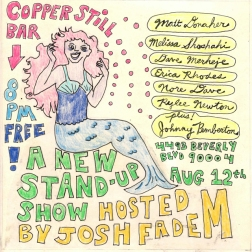 """""""a new stand-up show"""" . 7/10 poster art by stacy elaine dacheux . 2015"""