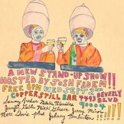"""""""a new stand-up show"""" . 10/10 poster art by stacy elaine dacheux . 2015"""